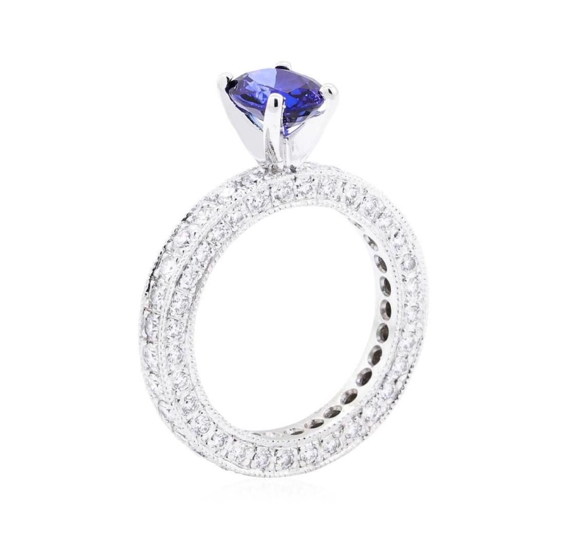 Platinum 3.08 ctw Sapphire and Diamond Ring - 4