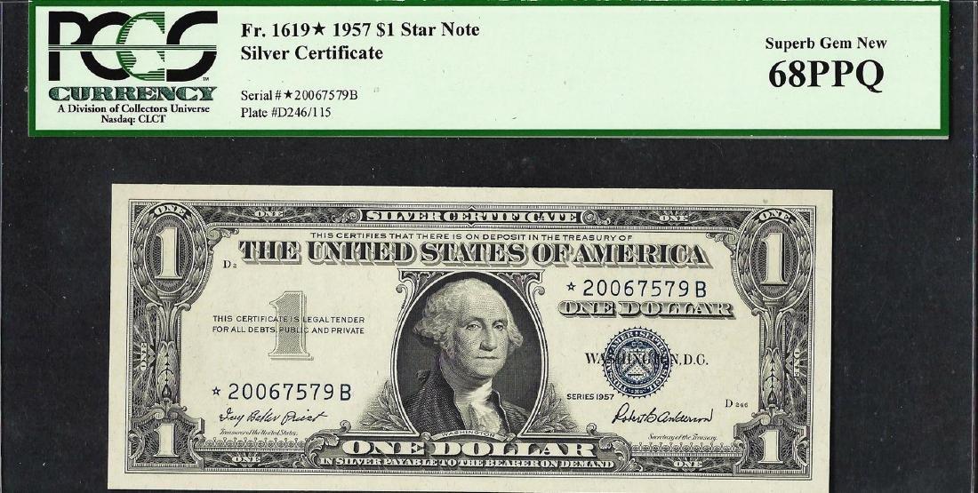 1957 $1 Silver Certificate STAR Note PCGS Superb Gem