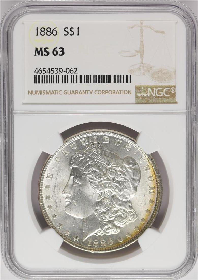 1886 $1 Morgan Silver Dollar Coin NGC MS63 Amazing