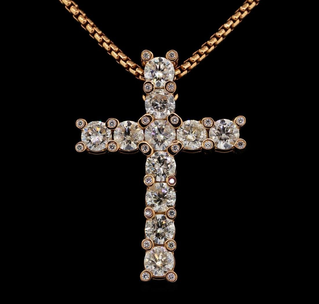 14KT Rose Gold 8.14 ctw Diamond Pendant with Chain - 2