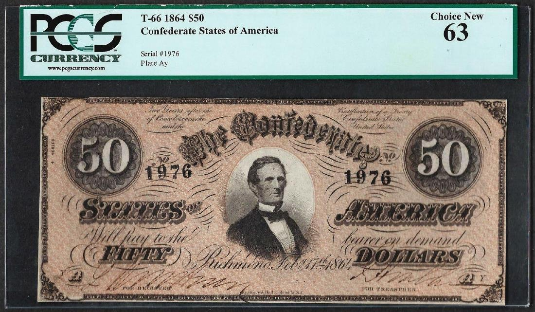 1864 $50 Confederate States of American Note T-66 PCGS