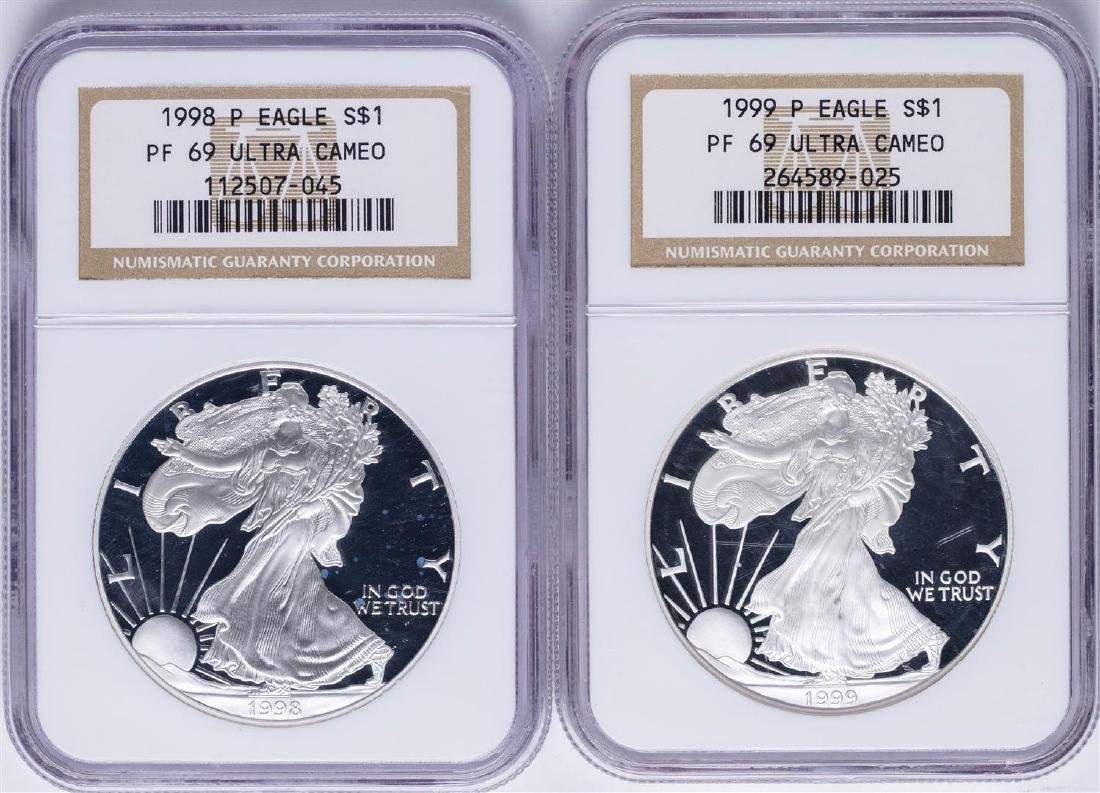 Lot of 1998-P & 1999-P $1 American Silver Eagle Proof