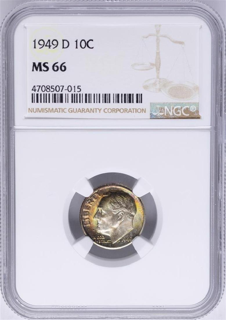 1949-D Roosevelt Dime Coin NGC MS66 AMAZING Toning