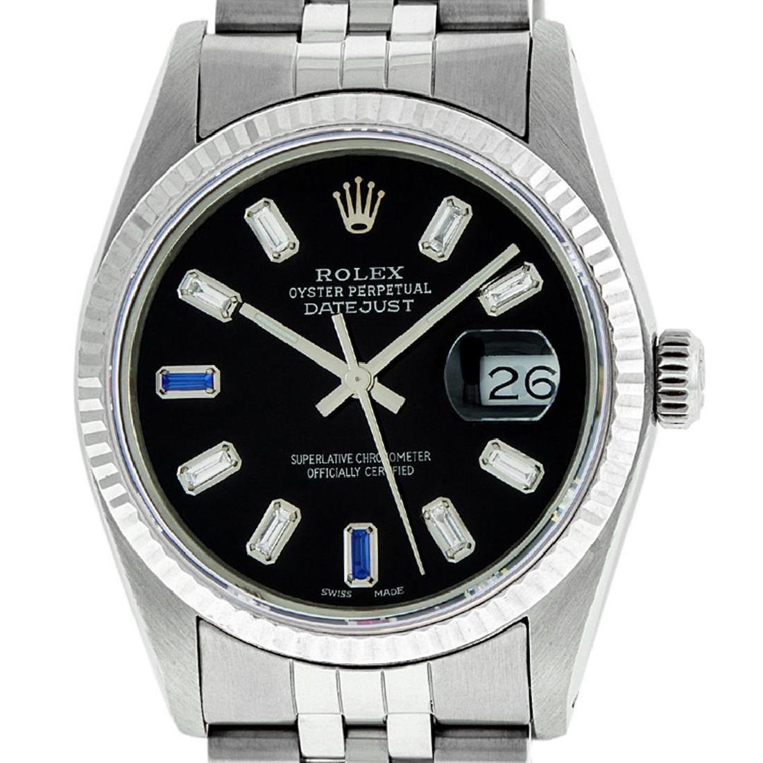 Rolex Men's Stainless Steel 36mm Black Diamond Dial