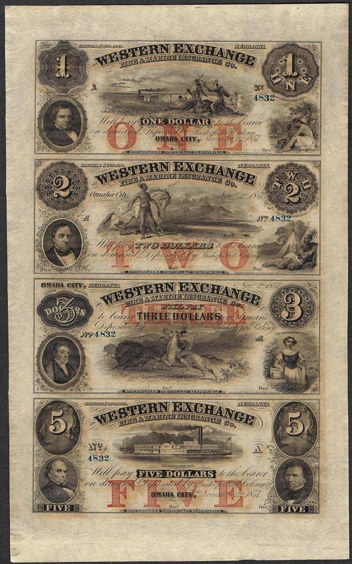 Uncut Sheet of 1857 Western Exchange Fire & Marine