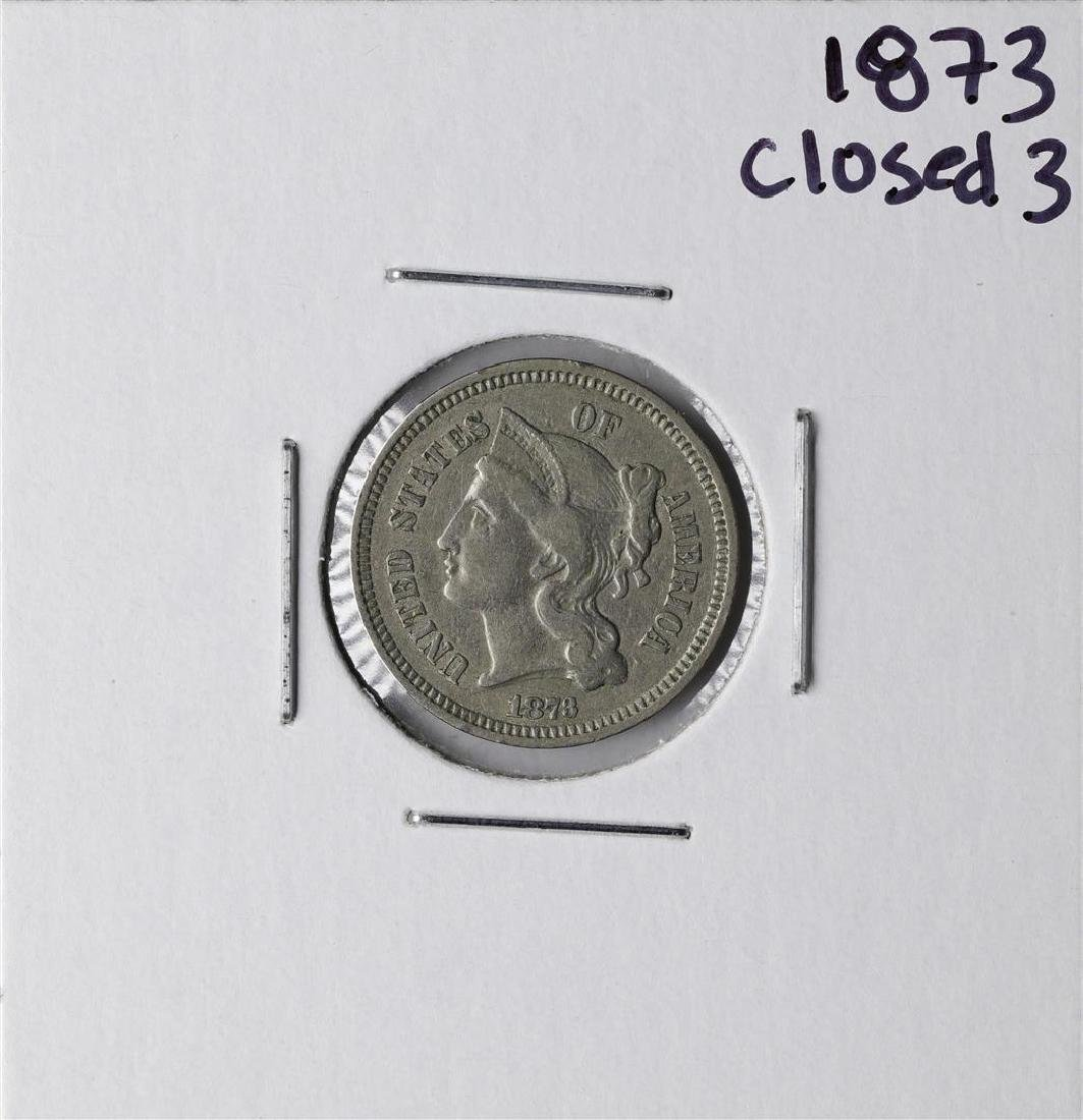 1873 Closed 3 Three Cent Nickel Coin