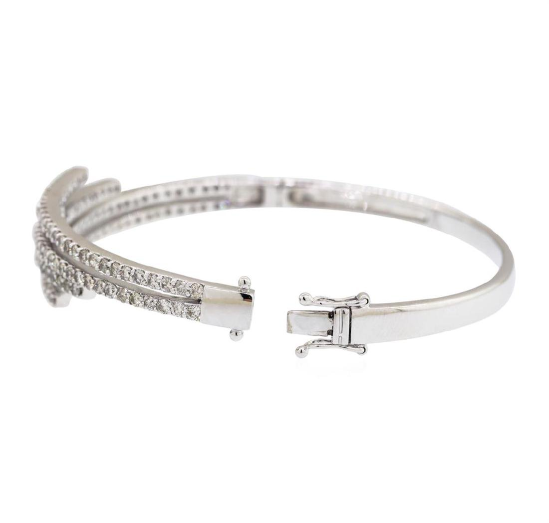 14KT White Gold 3.00 ctw Diamond Bangle Bracelet - 2