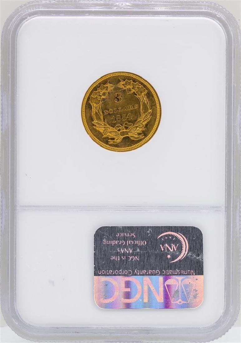 1854 $3 Indian Princess Head Gold Coin NGC AU53 - 2