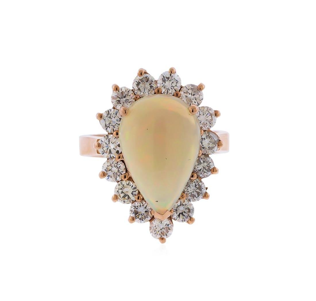 14KT Rose Gold 3.31 ctw Pear Shape Opal and Diamond