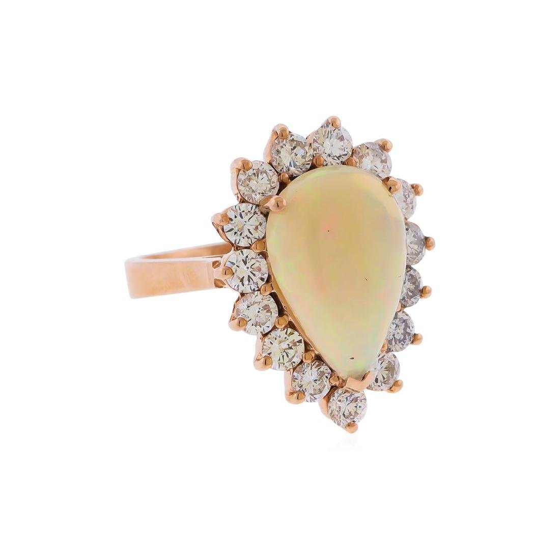 14KT Rose Gold 3.31 ctw Pear Shape Opal and Diamond - 2