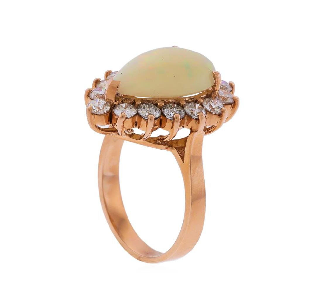 14KT Rose Gold 3.31 ctw Pear Shape Opal and Diamond - 3