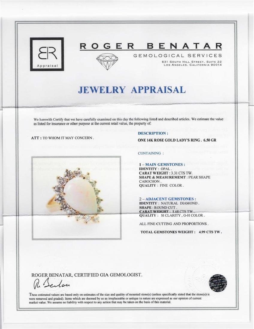 14KT Rose Gold 3.31 ctw Pear Shape Opal and Diamond - 4