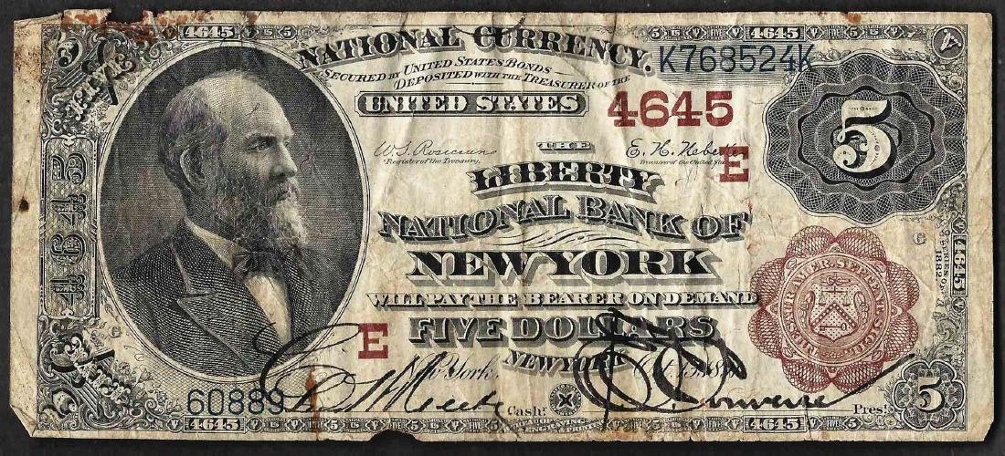 1882 $5 Brown Back New York, New York National Currency