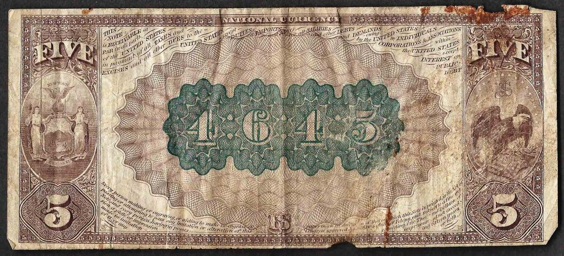 1882 $5 Brown Back New York, New York National Currency - 2