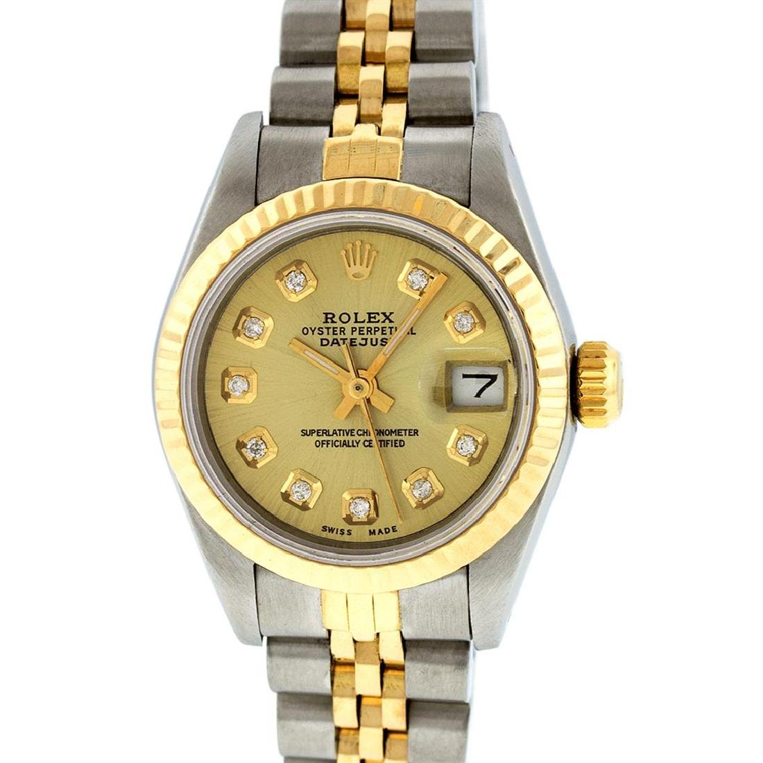 Rolex Ladies Two Tone 14K Champagne Diamond 26MM