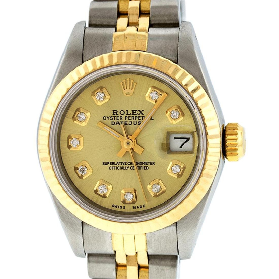 Rolex Ladies Two Tone 14K Champagne Diamond 26MM - 2