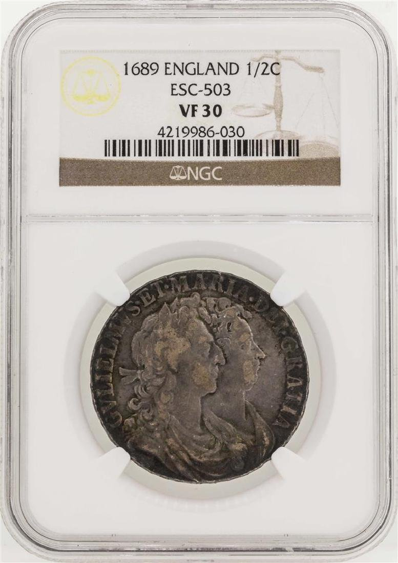 1689 England 1/2 Crown Coin NGC VF30
