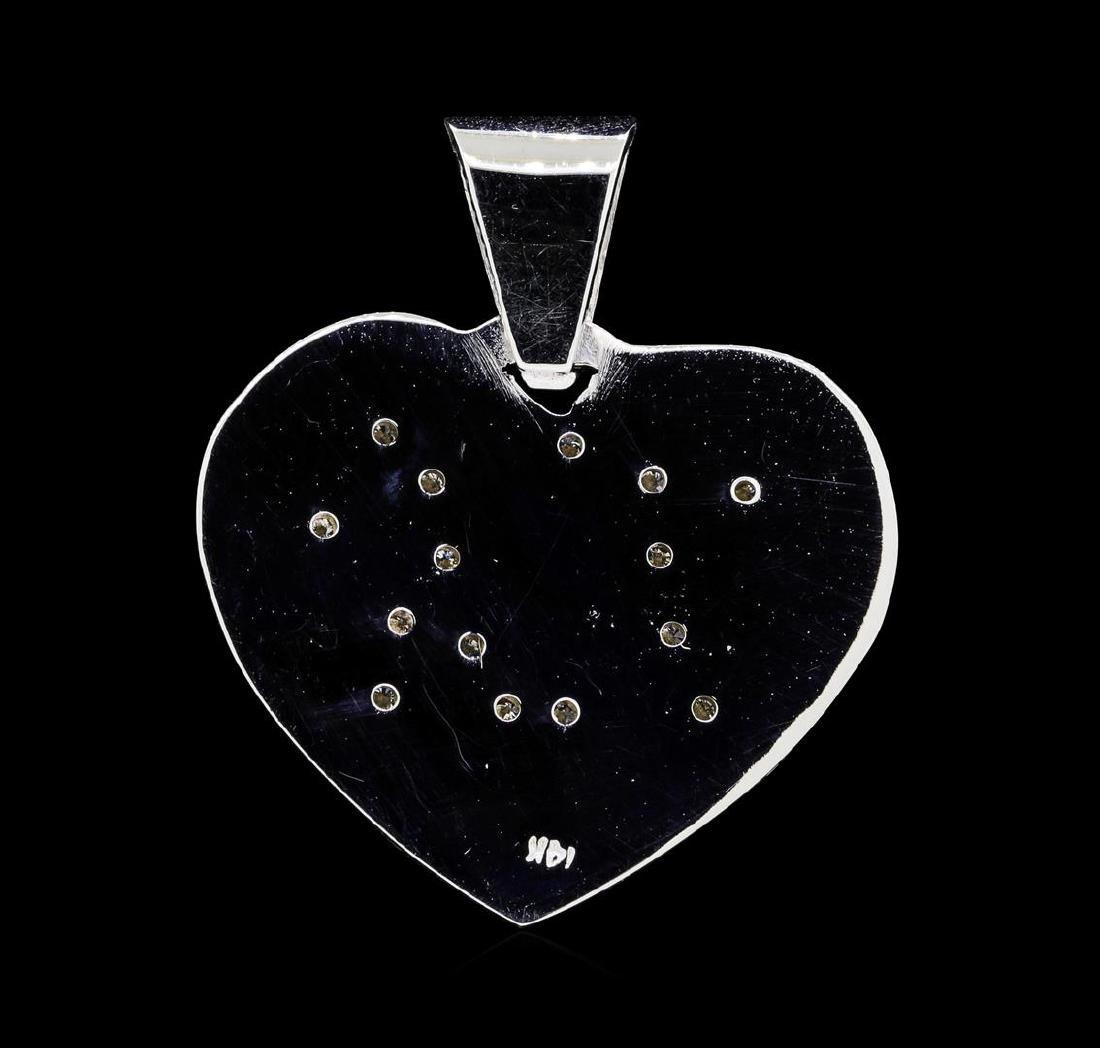 14KT White Gold 0.20 ctw Diamond Heart Shaped Pendant - 2