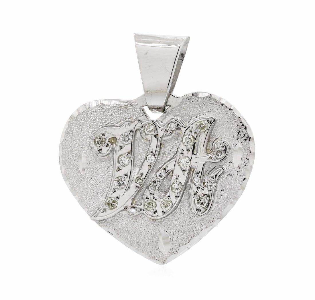 14KT White Gold 0.20 ctw Diamond Heart Shaped Pendant - 3