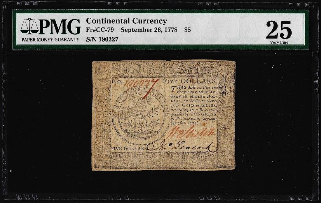 September 26, 1778 $5 Continental Currency Note Fr.