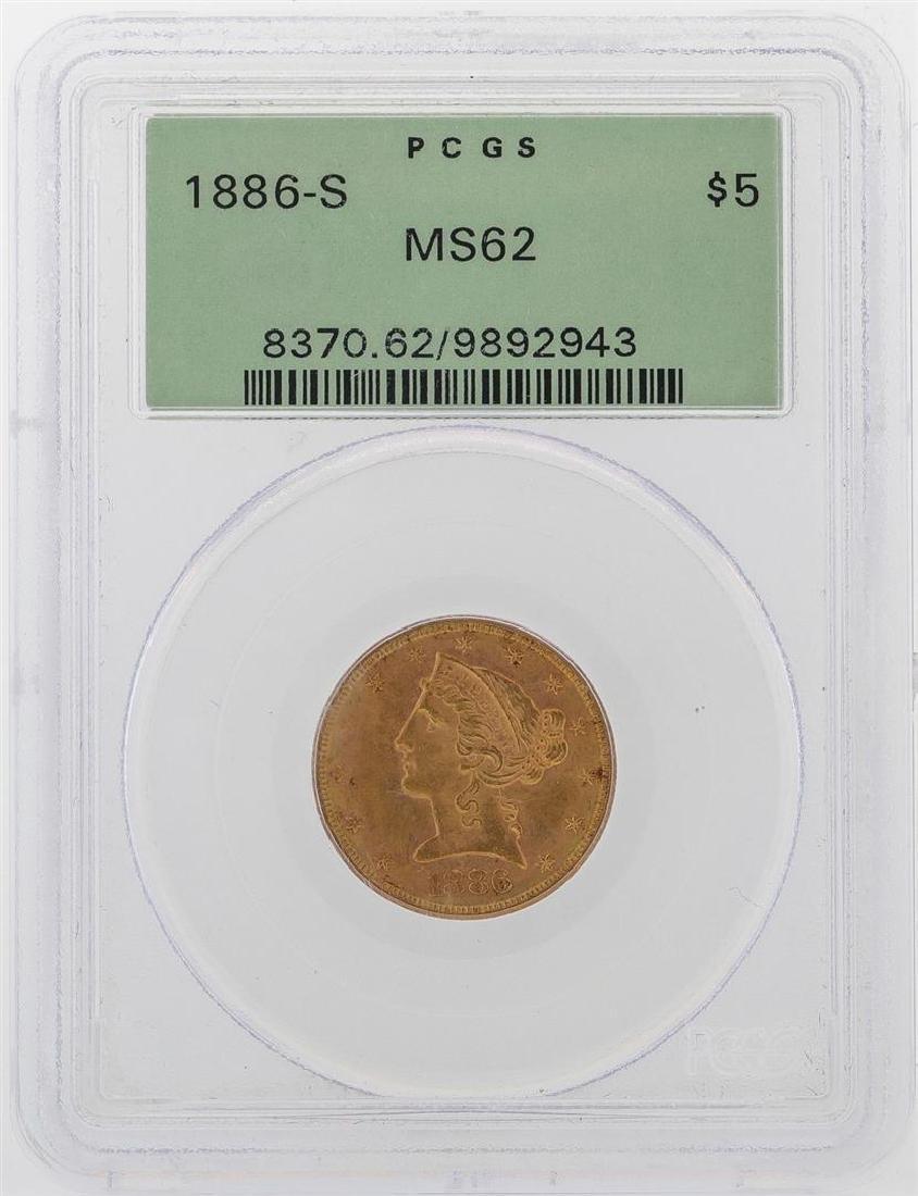 1886-S $5 Liberty Head Half Eagle Gold Coin PCGS MS62