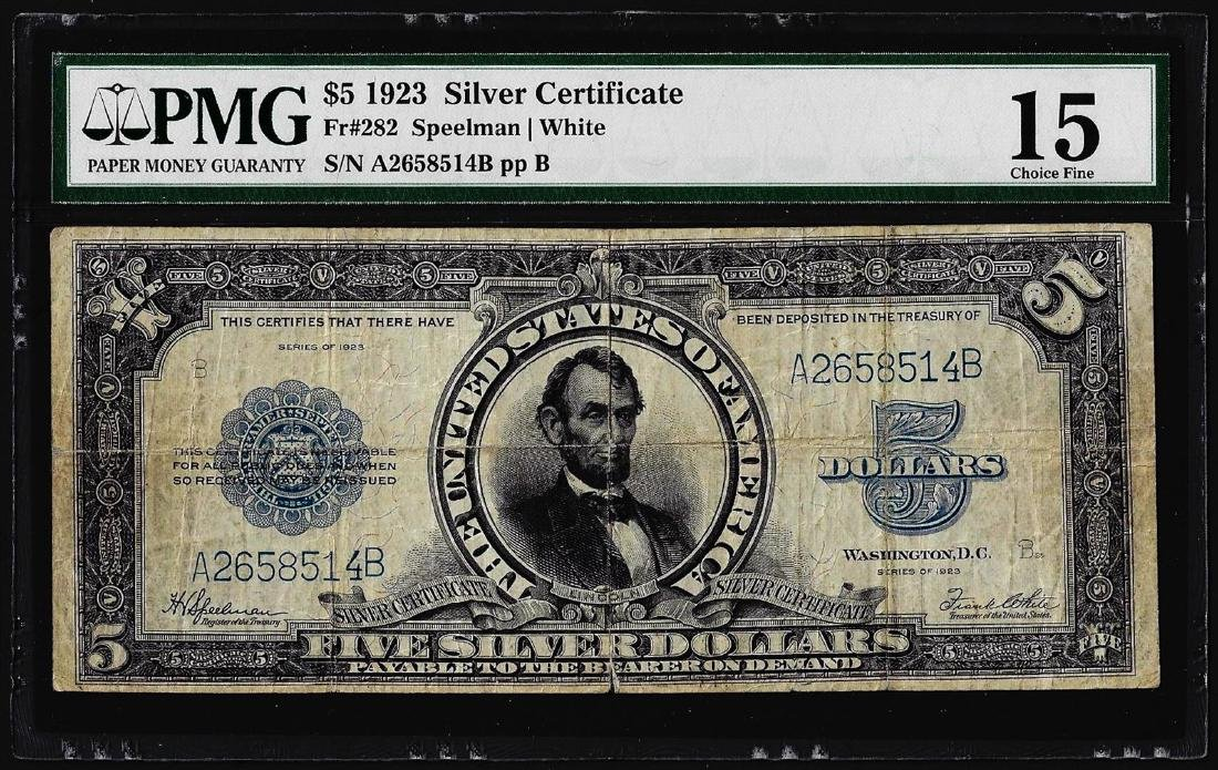 1923 $5 Porthole Silver Certificate Note Fr.282 PMG