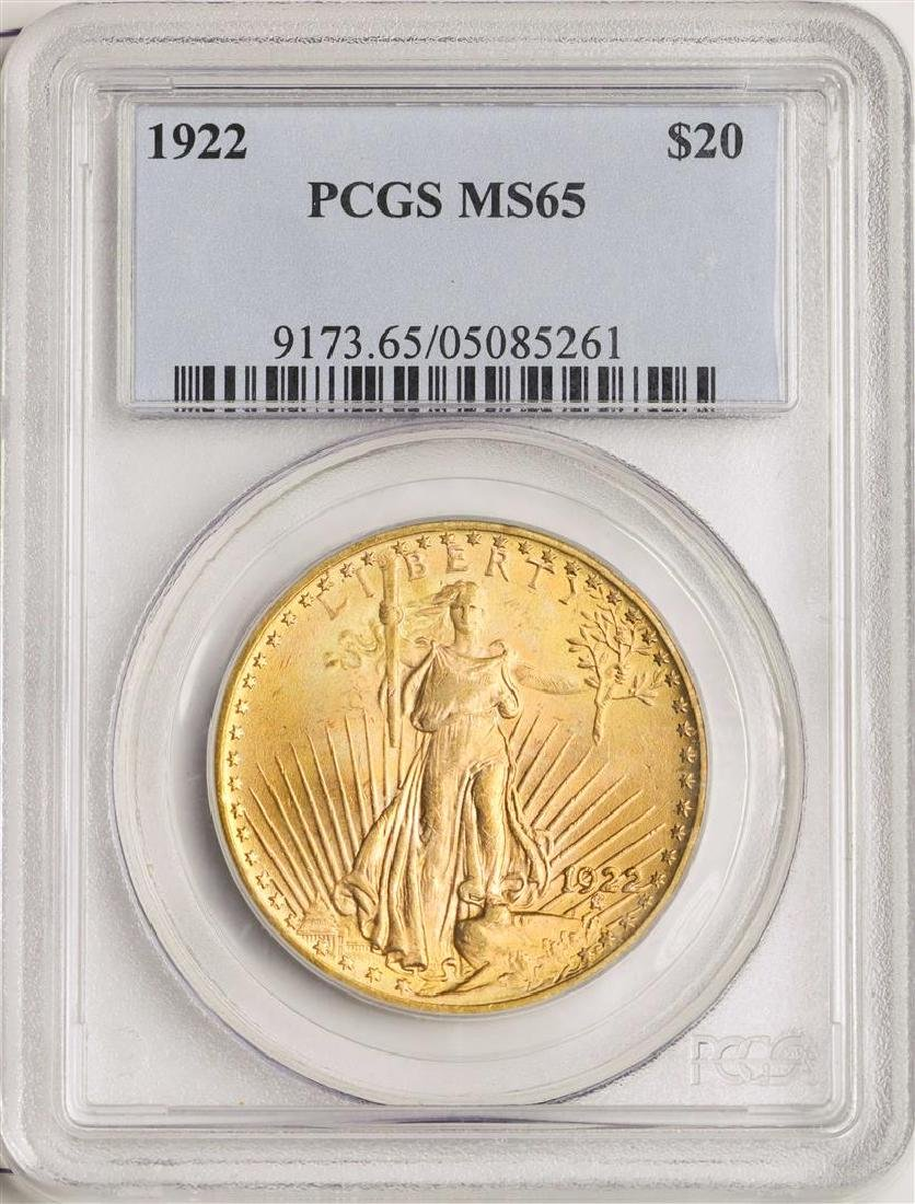 1922 $20 St. Gaudens Double Eagle Gold Coin PCGS MS65
