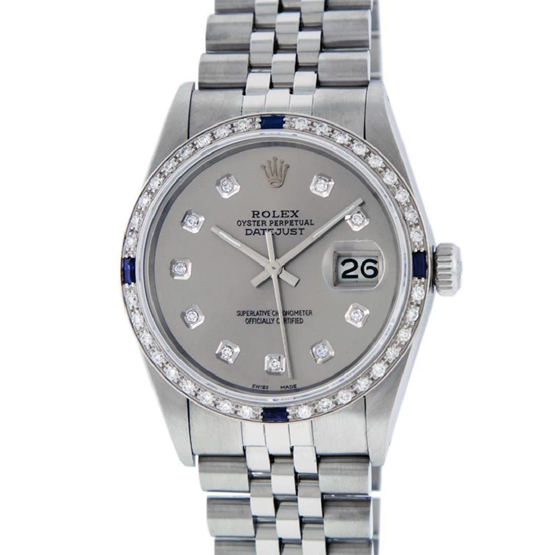Rolex Men's Stainless Steel Gray Diamond & Sapphire