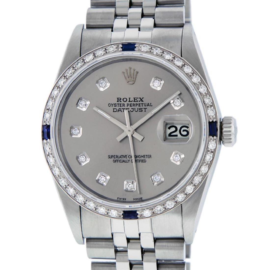 Rolex Men's Stainless Steel Gray Diamond & Sapphire - 2