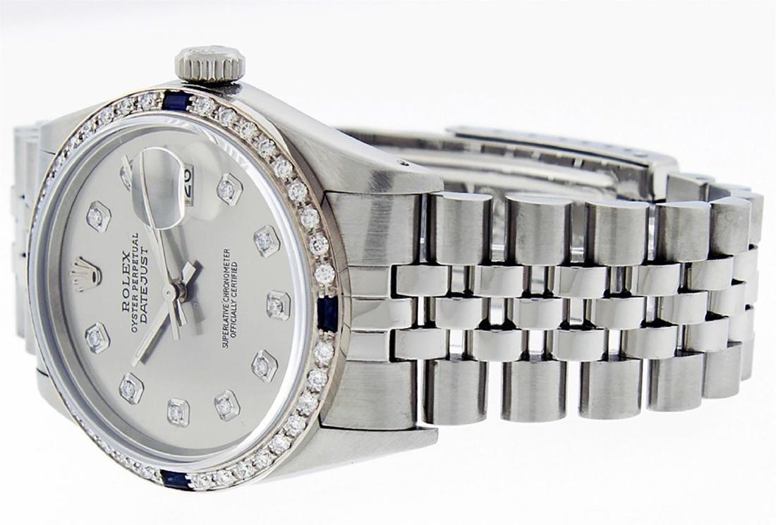 Rolex Men's Stainless Steel Gray Diamond & Sapphire - 4