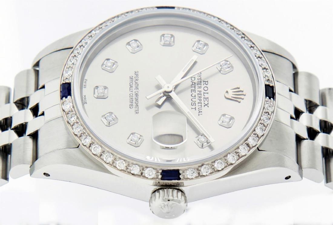 Rolex Men's Stainless Steel Gray Diamond & Sapphire - 6