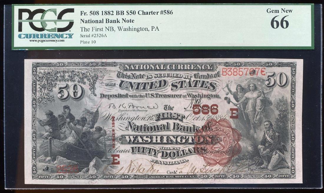 1882 $50 BB First NB of Washington, PA CH# 586 National