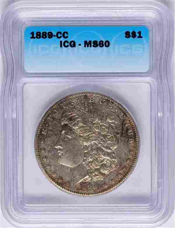 1889-CC $1 Morgan Silver Dollar Coin ICG MS60