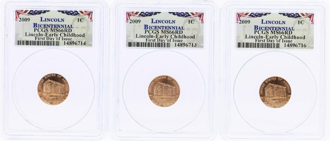 Lot of (3) 2009 Bicentennial Lincoln Cent Coins PCGS