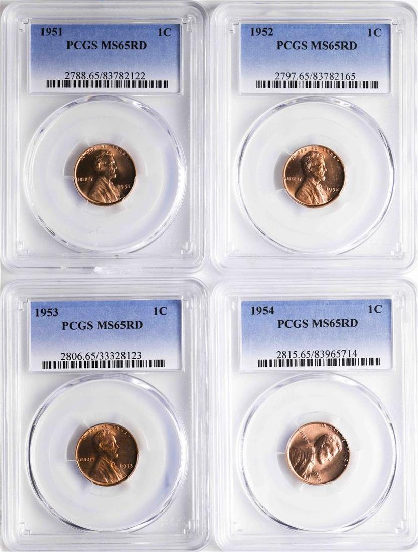 Lot of 1951-1954 Lincoln Wheat Cent Coins PCGS MS65RD