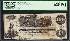 1862 100 Confederate States of America Note T39 PCGS