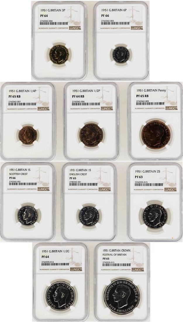 1951 Great Britain (10) Coin Proof Set NGC Graded