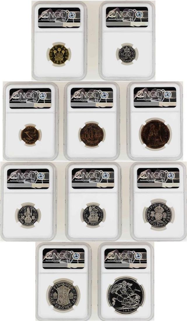 1951 Great Britain (10) Coin Proof Set NGC Graded - 2