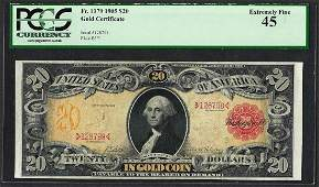1905 $20 Technicolor Gold Certificate Note Fr.1179 PCGS