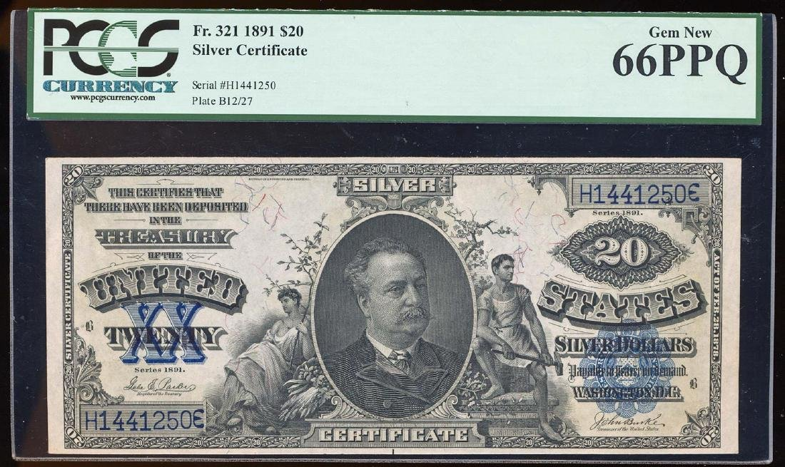 NONE FINER 1891 $20 Manning Silver Certificate Note