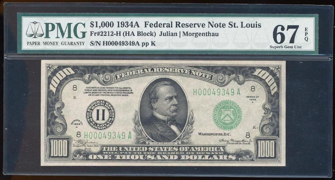 1934A $1,000 Federal Reserve Note St. Louis Fr.2212-H