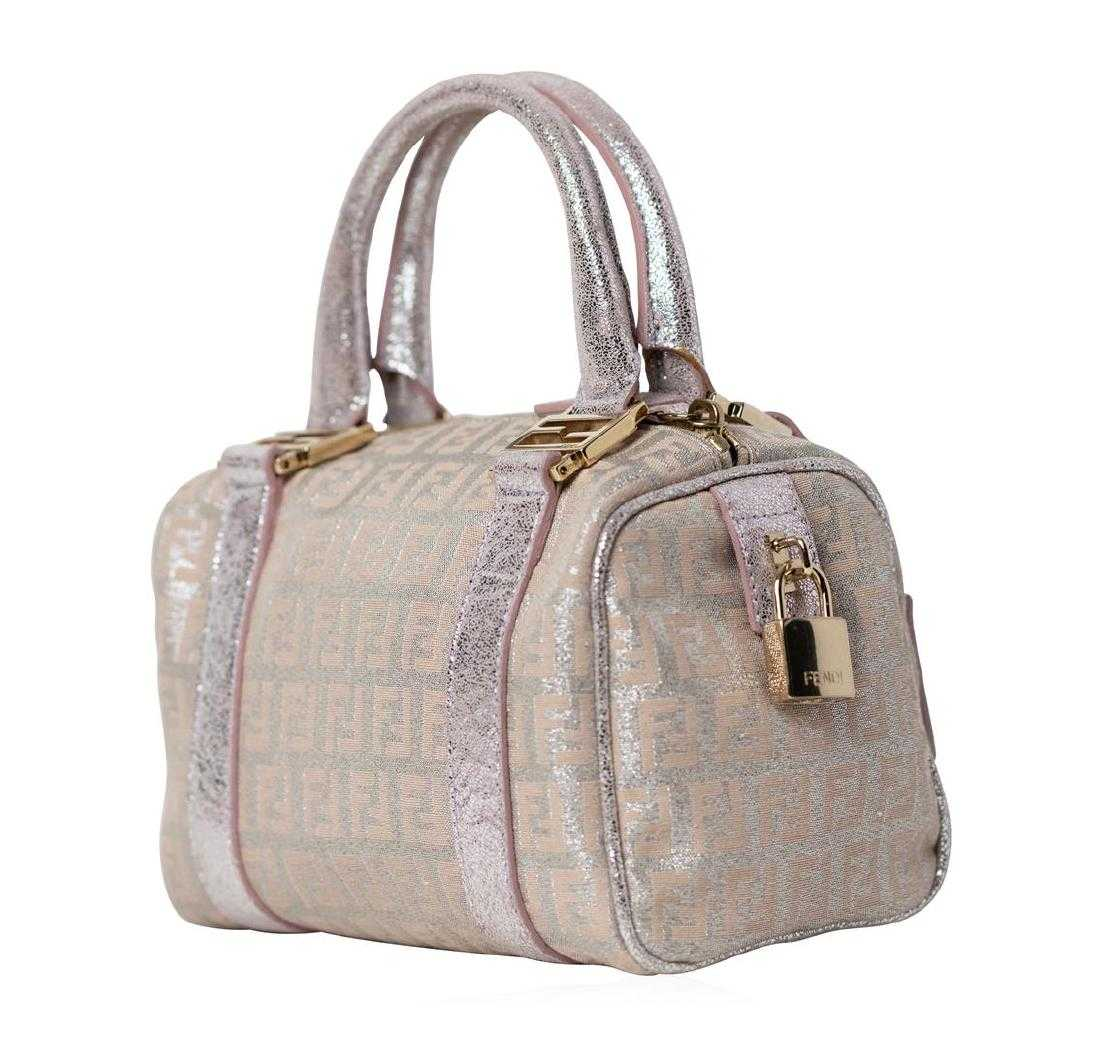 dcf7d5ac04 Fendi Metallic Zucca Mini Boston Boulotto Bag