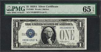 1928A 1 Funnyback Silver Certificate Note Fr1601 PMG