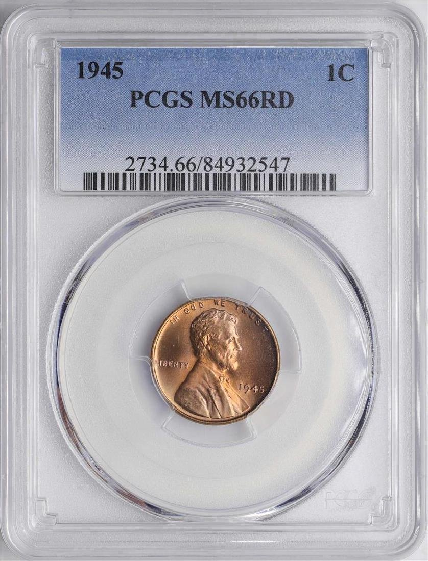 1945 Lincoln Wheat Cent Coin PCGS MS66RD PREMIUM TONING