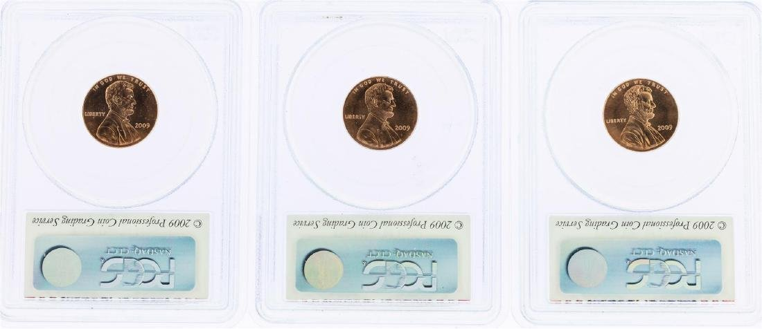 Lot of (3) 2009 Bicentennial Lincoln Cent Coins PCGS - 2