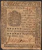 October 25, 1775 Nine Pence Pennsylvania Colonial