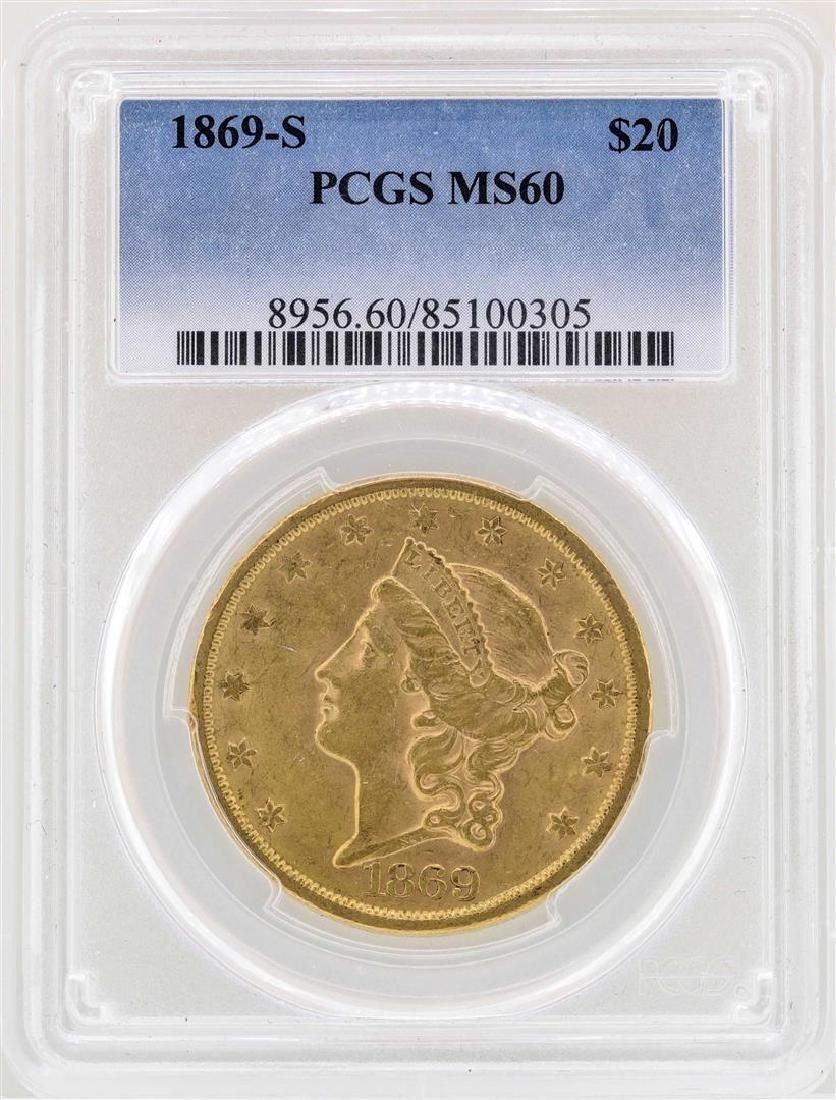 1869-S $20 Liberty Head Double Eagle Gold Coin PCGS