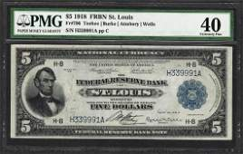 1918 $5 Federal Reserve Bank Note St. Louis Fr.796 PMG