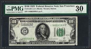 1928 $100 Federal Reserve Note San Francisco Fr.2150-L