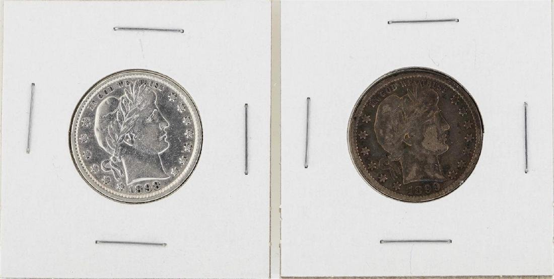 Lot of 1898-P & 1899-P Barber Quarter Silver Coins